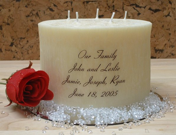 Larger Image Beautiful Family Unity Candle 6x41 2 4lbs 5 Wicks Crystal Wax 34 95 Add Your Names And Dates In Cart Comments Section